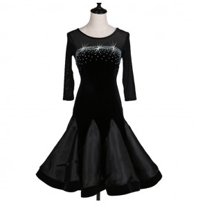 Black velvet see through back competition professional women's girl's latin salsa dance dresses costumes