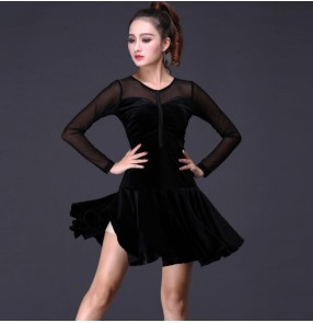 Black velvet tulle long sleeves patchwork women's female lady competition exercises performance latin salsa cha cha rumba dance dresses