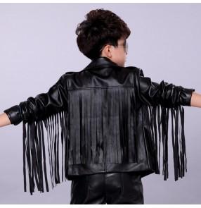 Black white leather motor cycle fringes boys kids fashion hip hop dancers singers drummer model t show performance jacket coats