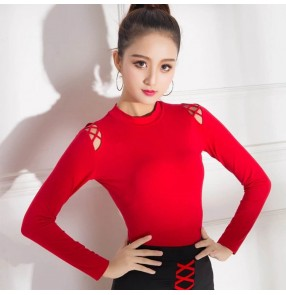Black white red hollow shoulder long sleeves women's girl's ballroom latin salsa cha cha dance shirts tops blouses