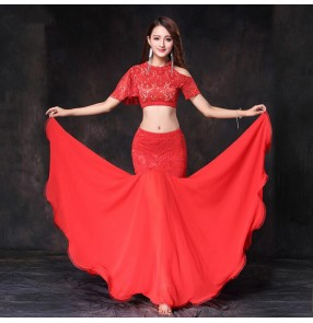 Black white red lace patchwork fashion sexy stage performance women's competition belly dance costumes dresses