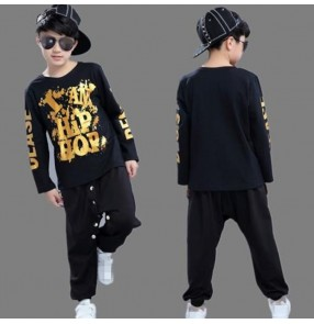 Black with gold printed boys girls school play stage performance  fashion hip hop jazz singer dance ds dance Top pants costumes outfits