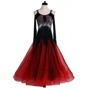Black with red rhinestones backless competition long sleeves women's female professional ballroom waltz tango dance dresses