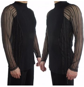 Black with silver sequined striped fashion sexy men's male competition stage performance ballroom latin tango dance tops shirts