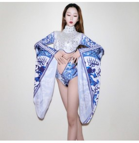 Blue and white printed fashion women's female competition flare long sleeves singers dancers cheer leaders model performance bodysuits leotards