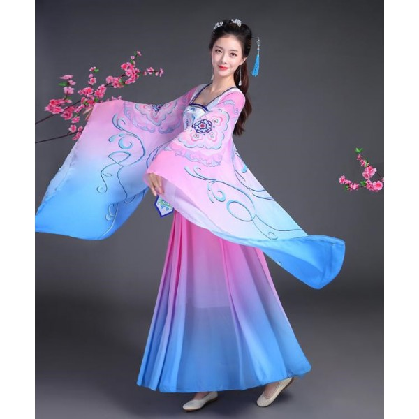 Blue pink gradient colored ancient folk dance dresses women s female  competition fairy film anime Cosplay kimono dance costumes dresses bd851b2d34