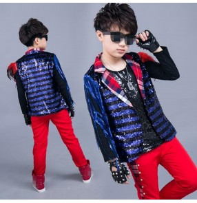 Blue red Children's boys Sequined competition jazz drummer dance costumes dance clothing children hiphop performances of modern children's clothing