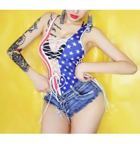 Blue red stars striped  patchwork fashion sexy girl's women's cheer leaders lead dancers jazz singers hiphop model performance bodysuits denim shorts