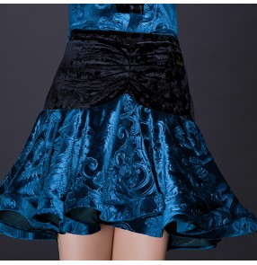Blue velvet women's female growth competition performance Latin skating salsa dance skirts