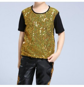 Boy jazz dance tops t shirts Silver gold  fashion hiphop street modern dance tops t shirts