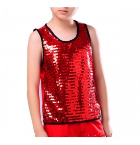 Boy Modern street dance vests kids children stage performance jazz singers dancers street dance hiphop dancing sequined  tops