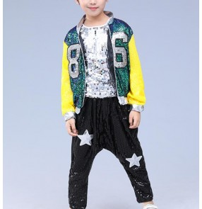 Boy's hiphop dance costumes boy's kids children girl's sequined baseball singers drummer show performance street dance costumes outfits