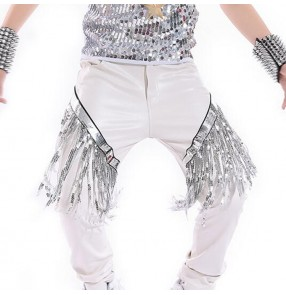 Boy's jazz dance pants hiphop kids children white silver modern leather street dance performance drummer photos cosplay trousers