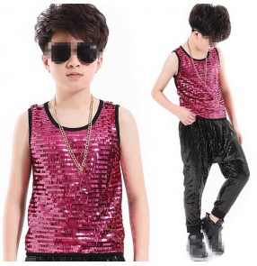 Boy's jazz dance tops fuchsia sequined kids children modern dance hiphop show stage performance competition t shirts vests