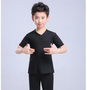 Boy's latin dance shirts for kids children stage performance black white ballroom waltz dancing top t shirts