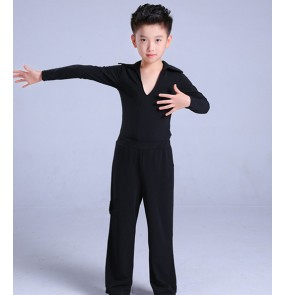 Boy's latin shirt trousers for kids children stage performance black ballroom latin outfits