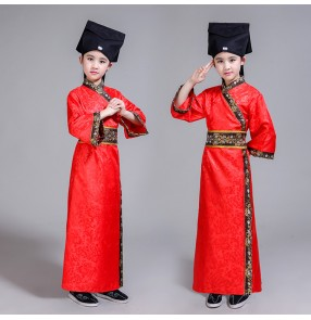 Boys Chinese folk dance costumes ancient kids children photos drama anime show cosplay Chinese studies china style robes dresses