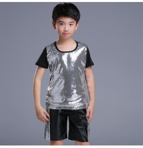 Boys jazz dance costumes silver kids children sequined stage performance drummer hiphop street dance tops and shorts