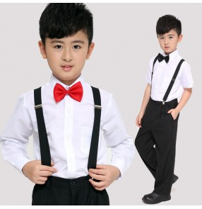 Boys jazz dance costumes singers recite chorus party host stage performance  show model flower boys competition shirts pants outfits