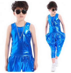 Boys jazz dance outfits modern dance hiphop singers show drummer cosplay stage performance competition top and shorts
