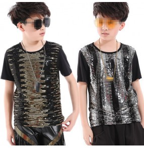 Boys kids jazz hiphop street dance tops school drummer performance competition dancing sequined t shirts tops
