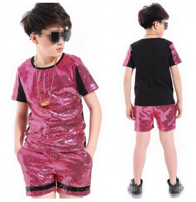 Boys street dance jazz dance outfits sequined hiphop stage performance competition drummer show photos cosplay top and shorts