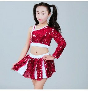 cheerleader hiphop street jazz dance outfits for kids children boys girls blue sequined stage performance school competition dance tops and shorts