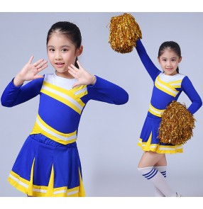 Children Academic Dress Primary School Uniforms Girls  Blue Cheerleader Cheer Leaders Costume Boy Aerobics outfits Girls school Uniforms