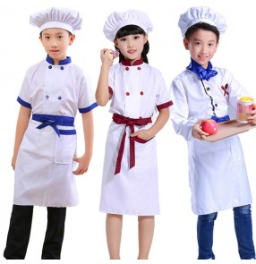 Children Boys girl's Games Chef Uniform Kindergarten Cooking Uniform for Cosplay Party Tops +Apron+Hat Girl Boy Kitchen Work Costume