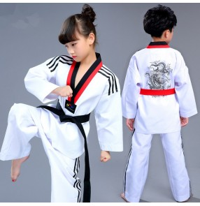 children boys girls children White dobok school  taekwondo competition uniforms taek won do breathable long sleeve clothes kids taekwondo uniforms costumes