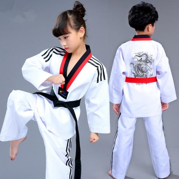 Girl/&Boy Taekwondo Uniform Karate Sash Dobok Stage Show Costume Top+Pants+Belt