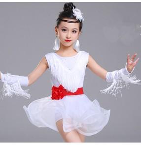 Children fringes latin dresses girls white violet competition stage performance ballroom salsa chacha dance dresses