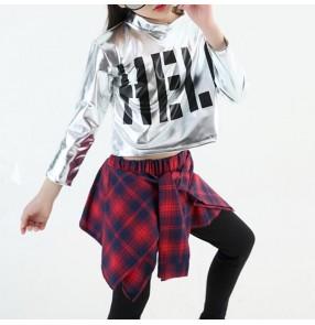 children girl boy hip hop jazz costume modern ballroom dance wear short long sleeve shirt top check pantskirt culottes