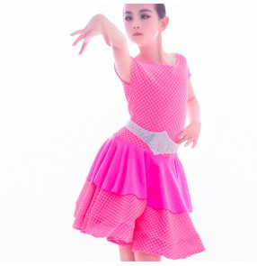 Children latin dance dresses pink neon green performance competition salsa rumba chacha dance dresses