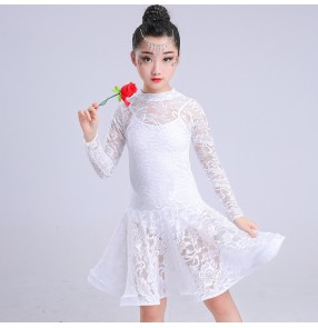 Children latin dress for kids girl red black white lace competition rumba salsa chacha latin ballroom dance dresses