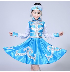 Chinese folk dance costume for girls children Mongolian minority film cosplay performance blue red dance dress robes