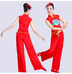 Chinese folk dance costumes for female competition red pink ancient traditional yangko fan dancing costumes dresses