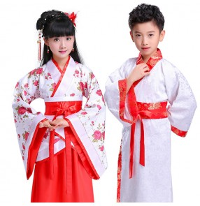 Chinese folk dance costumes for girls boys children stage performance hanfu anime cosplay ancient traditional kimono cosplay robes outfits