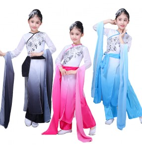 Chinese folk dance costumes for girls kids children blue pink black stage performance ancient traditional fairy dance dresses
