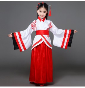 Chinese Folk dance costumes for kids children girls Korean Japanese fairy anime drama cosplay show performance kimono robes dresses