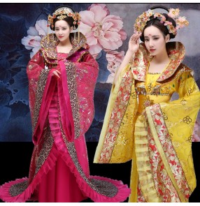 Chinese folk dance costumes for women female red gold China ancient traditional express queen fairy princess photos cosplay performance robes dresses