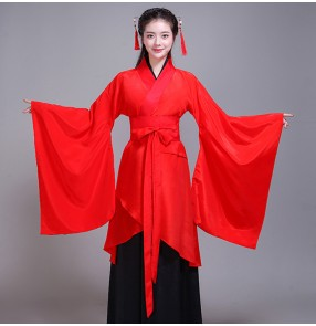 Chinese Folk dance costumes traditional hanfu for female women's red stage performance traditional film anime drama korean Japanese kimono dress