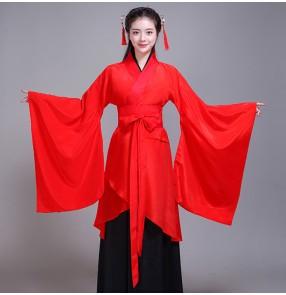 Chinese Folk dance costumes traditional hanfu for female women's red stage performance traditional film anime drama korean Japanese kimono dress