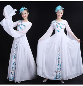 Chinese folk dress women's female white competition stage performance traditional photos film cosplay fairy classical dancing dresses
