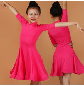 Competition latin dress for girls kids children royal blue purple pink mint black stage performance ballroom samba salsa dance outfits