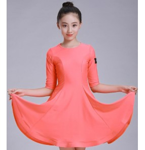 Coral orange girls latin dress children kids competition diamond beads stage performance ballroom latin dance dresses