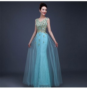 Dark green turquoise red pink peacock sequined fashion sexy women's female wedding party celebration model host performance evening dresses