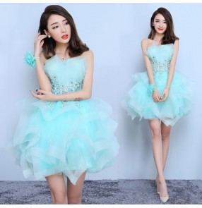 Evening dresses Turquoise ivory women's female competition performance wedding party bridesmaid short length Vestidos de noche