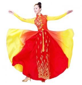 Female Yangko Chinese folk dance dresses women's lady red yellow gradient fan dance traditional classical dance costumes