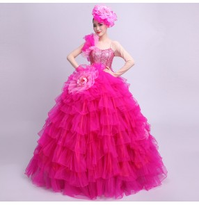 Flamenco dresses for women female lady Spanish bull dance opening chorus singers ballroom performance cosplay outfits dresses